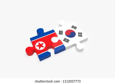 Two jigsaw puzzle pieces connected with South and North Korean flags. South Korea and North Korea relationship concept. 3D Illustration.