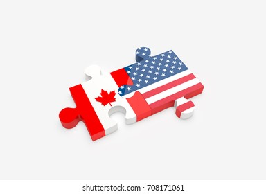 Two jigsaw puzzle pieces connected with U.S. and Canadian flags. United States and Canada relations concept. 3D Illustration.