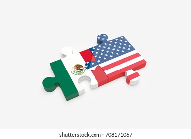 Two jigsaw puzzle pieces connected with U.S. and Mexican flags. United States and Mexico relations concept. 3D Illustration.