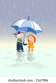Two kids with umbrella