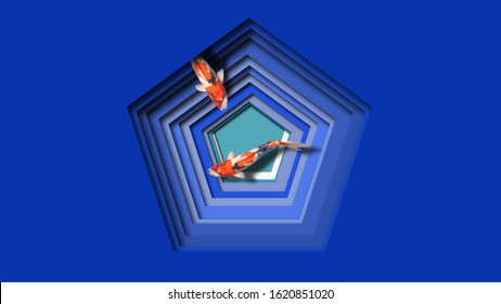 Two koi fish swimming in an abstract blue pentagon frame