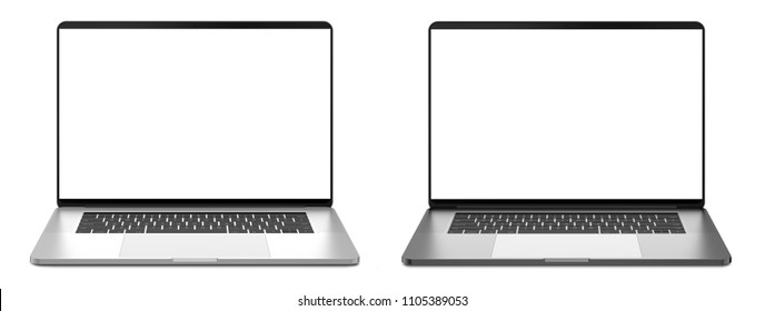 Two laptops with white screen on a white background, isolated. 3d illustration.