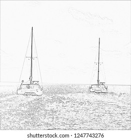 Two large catamarans leaving at sunset pencil sketch