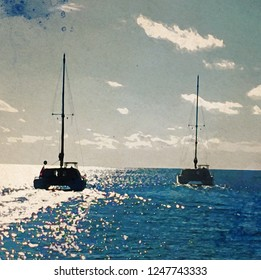 Two large catamarans leaving at sunset watercolor