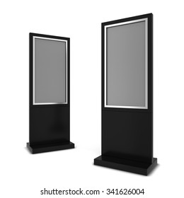 Two lcd displays. 3d illustration isolated on white background