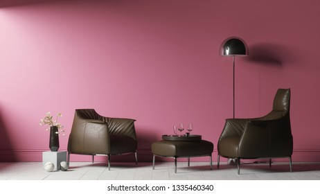 Two leather chairs with a floor lamp near the pink wall. Living room with pastel pink wall and leather chairs. 3d illustration
