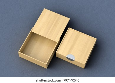 Two light wooden square boxes with sliding lid on gray background. Empty opened and closed box. Include clipping path around each box. 3d illustration