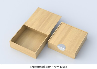 Two light wooden square boxes with sliding lid on white background. Empty opened and closed box. Include clipping path around each box. 3d illustration