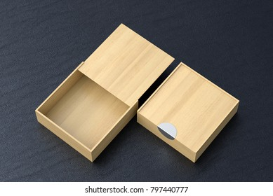 Two light wooden square boxes with sliding lid on black leather background. Empty opened and closed box. Include clipping path around each box. 3d illustration