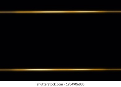 two lines golden with light effects on black background, concept frame, paper,banner, luxury
