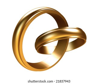 Two linked gold rings. Including clipping path.
