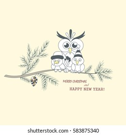 two little birds and a large owl sitting on a branch the branch of a