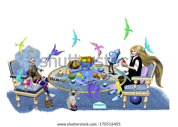 two little girls drink tea and eat some cake, in the air around them fly many colorful birds, over a white background, 3D illustration, raster illustration