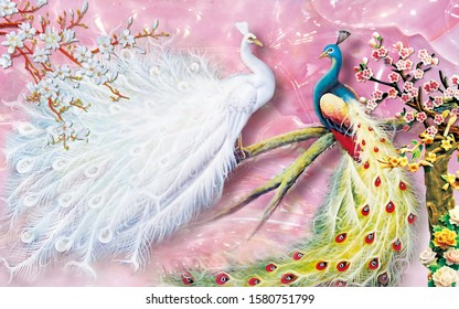 Two lovely peacock with pearl pink background for wall decoration. 3D rendering