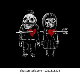 Two lovers skeleton of a man and a woman pierced by an arrow in the heart. Valentine's day card. The illustration in the engraving style