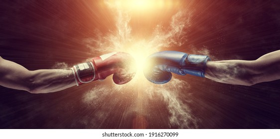 Two male hands in boxing gloves. Sports confrontation. 3d image