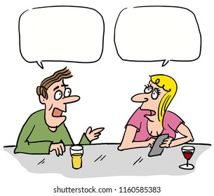 two mans in the bar , comics, illustration, character and mascot