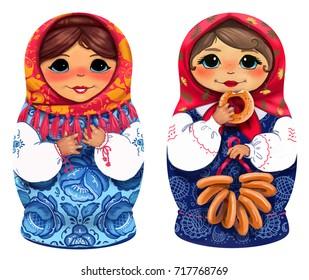 Two Matryoshka dolls, nesting dolls on a white background