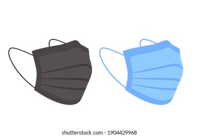 Two medical masks in black and blue.  Protection against covid in the form of masks.  Isolated over white background.