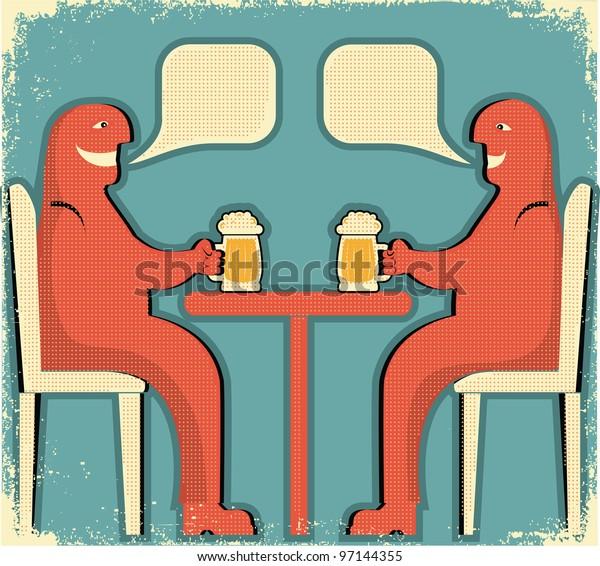 Two men drinking glasses of beer.Raster
