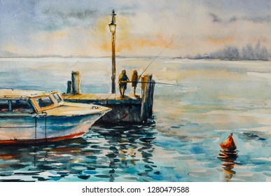 Two men fishing at dusk at the pier. Picture created with watercolors