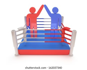 Two men on boxing ring. High resolution 3d render. Sport, competition, match, arena, praise concept.