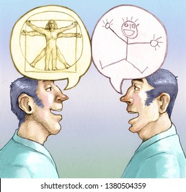 two men in profile one describes the man with the Vitruvian man while the other man describes the man with a doodle allegory of value of education