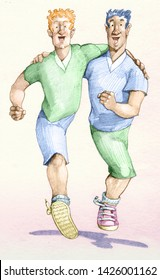 two men run supporting each other it seems they have two legs in two allegories of friendship