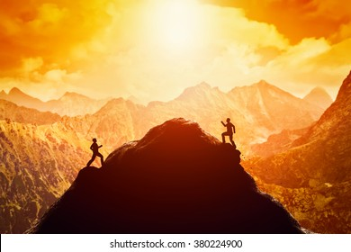 Two men running race to the top of the mountain. Competition, rivals, challenge in life concepts