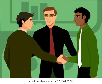 Two men shaking hands, being introduced by a third man