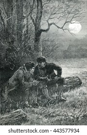 Two men talking about life. From Jules Verne Cesar Cascabel, vintage engraving, 1890.