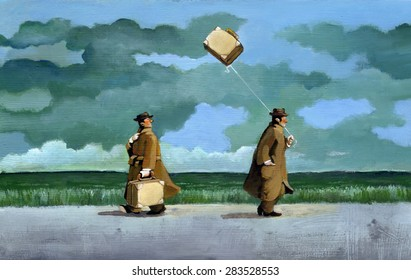 two men walking in the countryside on a rainy day, have both a suitcase, but one of them is light and flies like a kite