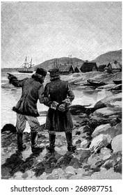 Two men were talking to the extremity of the port, vintage engraved illustration. Jules Verne Cesar Cascabel, 1890.