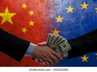 Two men/politicians in suits holding money/US Dollars and shaking hands with the national flag on the background - China and European Union