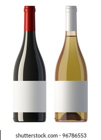 two merged pictures of burgundy shape red and white wine bottles with blank labels, render.