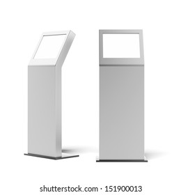 two metal advertising stands