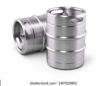 Two metal beer kegs isolated on white background. 3D render