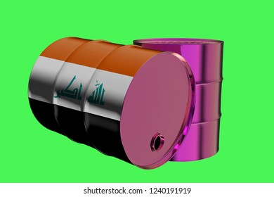 Two Metal Industrial Oil Barrels with Iraq Flag 3D rendering