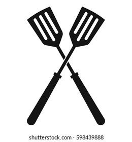 Two metal spatulas icon. Simple illustration of two metal spatulas  icon for web