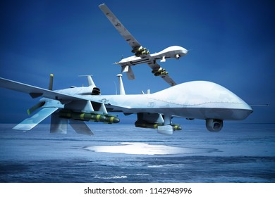 Two military drones over  arctic surface.