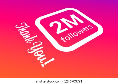 Two Million Followers, 2000000, 2M, Thank You, Number, Colored Background, Concept Image, 3D Illustration