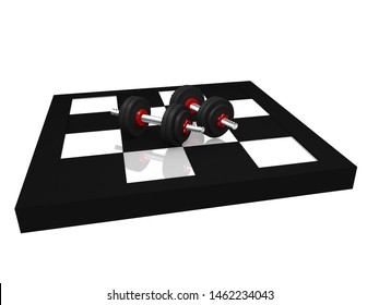 two miniature dumbbells on a chessboard. 3d rendering