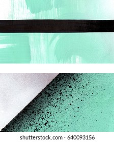Two mint green white and black abstract backgrounds set, brush strokes, straight lines, triangle, and spray paint