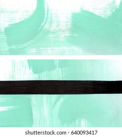 Two mint green white and black abstract backgrounds set, brush strokes, straight lines, and spray paint
