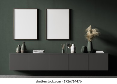 Two mock up posters frame on wall in modern interior background, living room. Books on cabinet. Scandinavian style. 3D rendering.