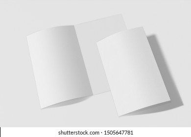 Two Mockup vertical booklet, brochure, invitation isolated on a white background with soft cover and realistic shadow. 3D rendering.