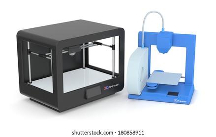 two models of 3d printers (3d render)