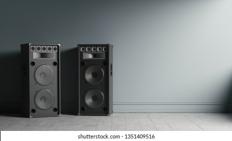 Two modern black audio speakers in interior near the wall. Musical columns isolated on a wall background. 3d illustration