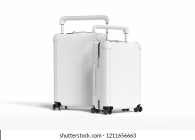 Two modern white blank suitcases isolated on white background, 3d rendering.