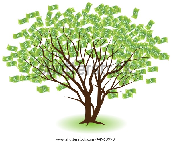 Two Money Trees Growing Together Isolated Stock Illustration